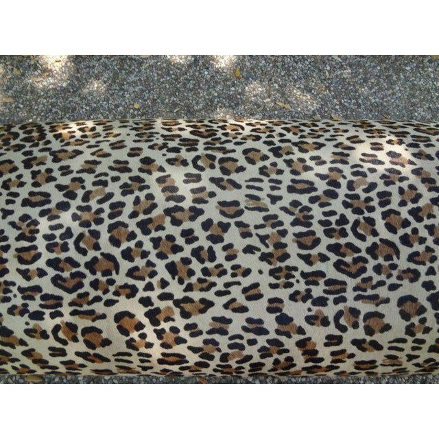 1960's Vintage Italian Gio Ponti Inspired Upholstered Leopard Print Hide Hair Bench For Sale In Houston - Image 6 of 8