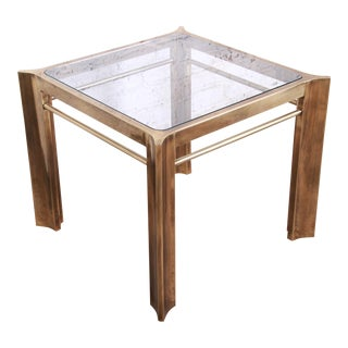 Mastercraft Mid-Century Hollywood Regency Brass and Glass Occasional Side Table For Sale