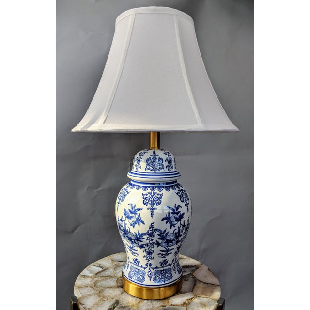 Asian Blue and White Ceramic Lamp For Sale - Image 3 of 13