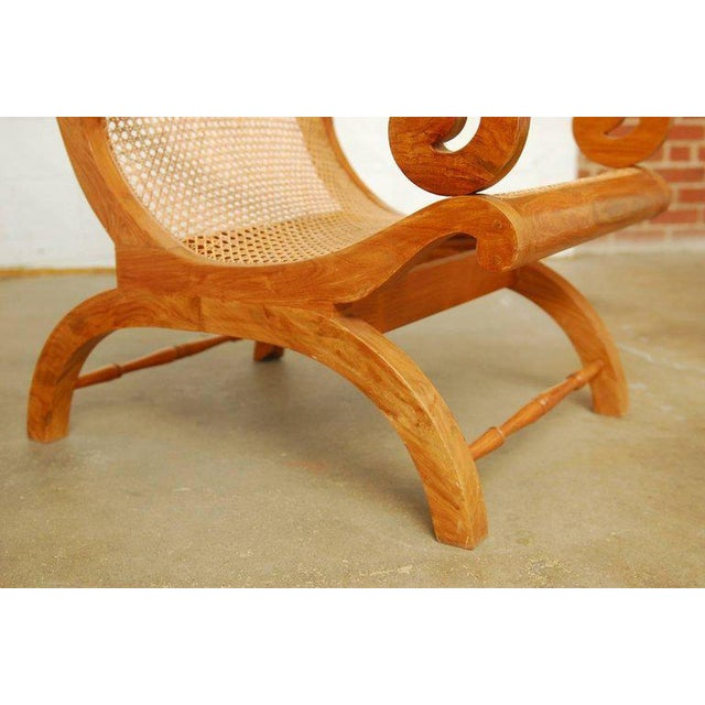 Anglo-Indian Anglo-Indian Teak and Cane Plantation Chair For Sale - Image 3 of 13