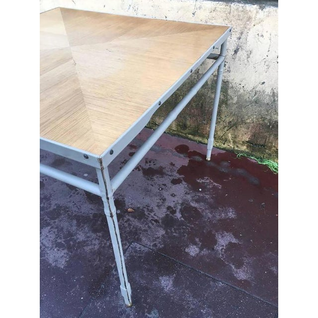 Mid-Century Modern Jacques Adnet Hand-Stitched Leather Rare Table With Oak Sunburst Top For Sale - Image 3 of 6