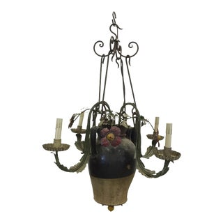 Antique Italian Tole and Ceramic Chandelier For Sale