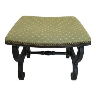 Painted Black Neo Classical Upholstered Footstool For Sale