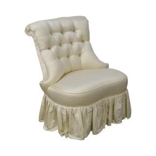Karges Tufted White Satin Boudoir Chair