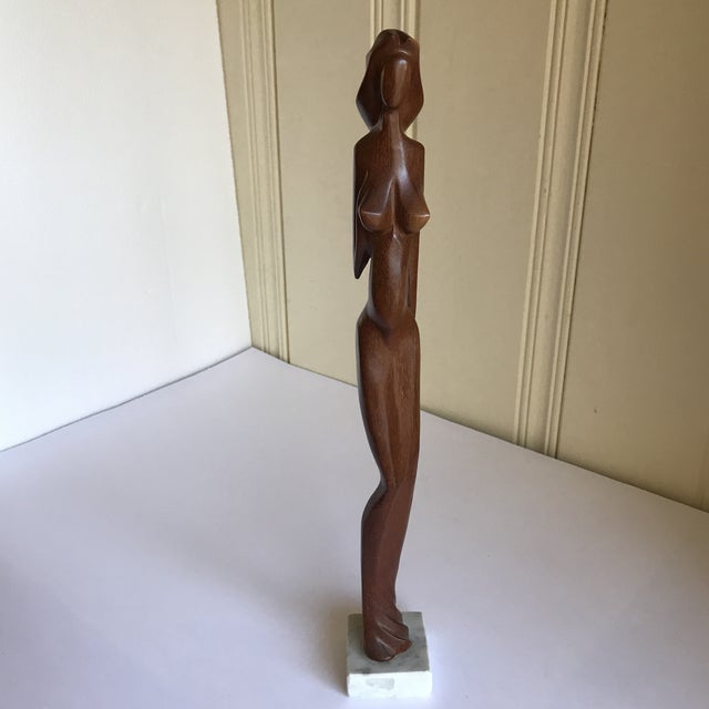 Wood Vintage Sculpted Wood Female Figure For Sale - Image 7 of 13