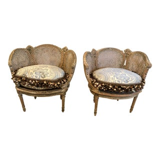 19th Century Louis XVI Painted Carved Wood and Double Caned Chairs - a Pair For Sale