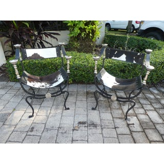 Natural Cowhide Wrought Iron and Chrome Savonarola Chairs- A Pair Preview