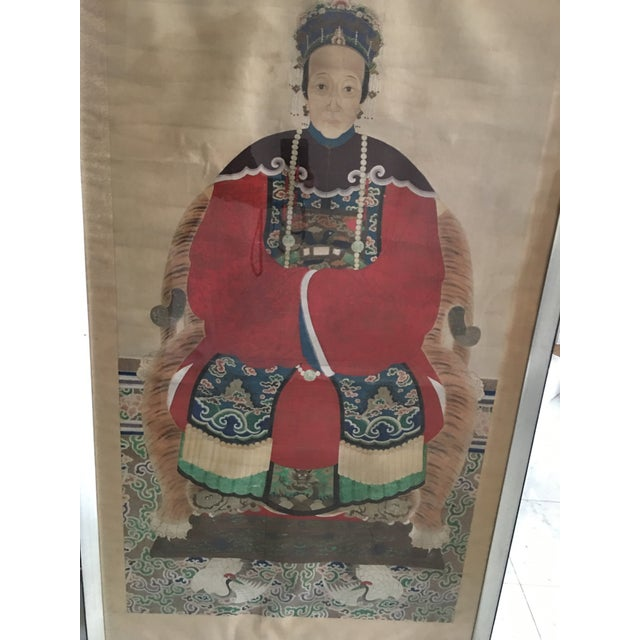 Asian Early 20th Century Antique Chinese Ancestral Watercolor Portrait on Paper Painting For Sale - Image 3 of 11