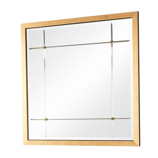 Global Views Modern Antique Gold Beaumont Square Wall Mirror For Sale