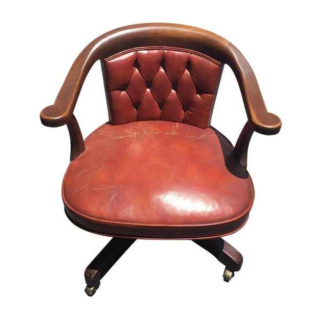 Kittinger Saddle Brown Executive Chair on Castors - Image 1 of 5