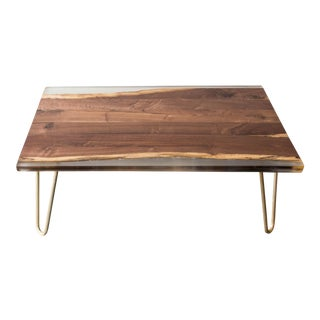 Reclaimed Walnut, Resin, and Brass Coffee Table