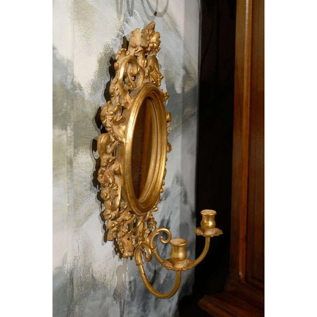 Early 20th Century Vintage Italian Mirrored Candle Sconces - a Pair For Sale - Image 5 of 8