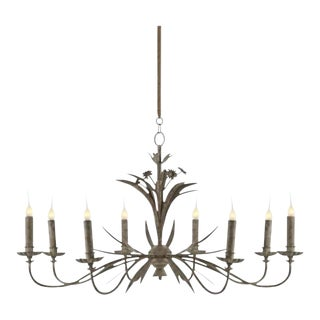 One Pair of Eight-Arm Chandeliers With Grey Zink Finish For Sale