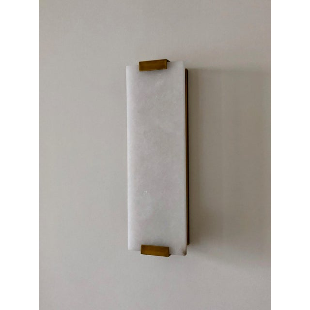 "Contemporary Restoration Hardware, Hand-Carved Alabaster Sconce 18"" - a Pair For Sale - Image 3 of 7"