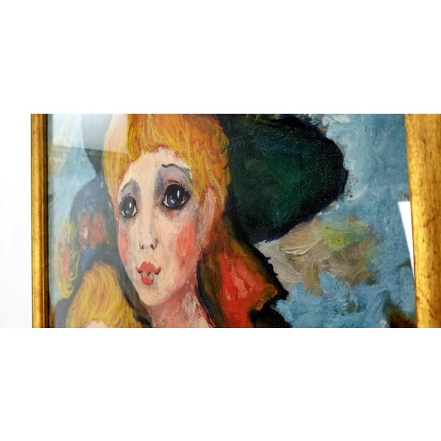 Canvas 1960s Mid Century Original Oil Painting on Canvas For Sale - Image 7 of 12