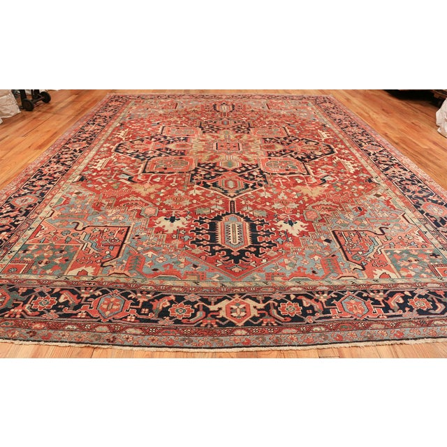 Room Size Antique Persian Heriz Geometric Rug - 11′ × 14′5″ For Sale - Image 4 of 13
