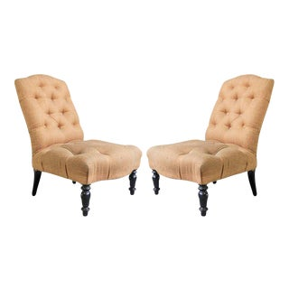 Pair of 19th Century Slipper Chairs For Sale