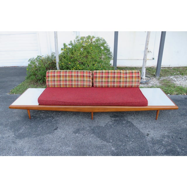 Mid Century Modern Adrian Pearsall Sofa XL Travertine Marble End Tables For Sale - Image 9 of 13