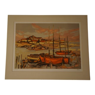 1960s French Fishing Village Lithograph Numbered 88/260 by Eliane Thiollier For Sale