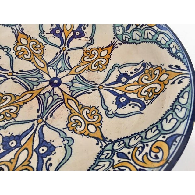 Moroccan Artist Moroccan Large Ceramic Plate Bowl From Fez For Sale - Image 4 of 13
