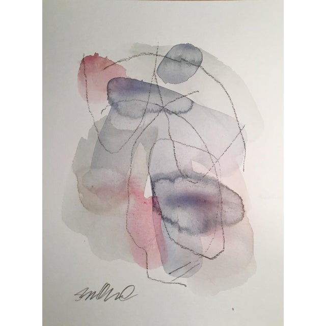 Original watercolor and charcoal painting on Caslon paper. Abstract art.