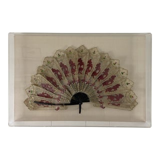 Acrylic Box Framed Asian Folding Fan For Sale