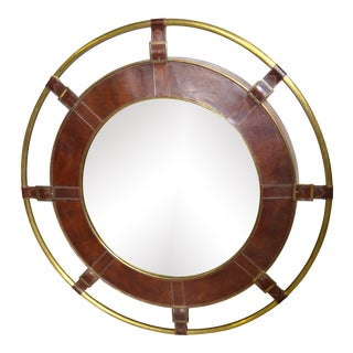 Jamie Young Portsmouth Mirror in Tobacco Leather Showroom Sample For Sale
