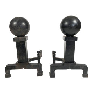 Pair of Cast Iron Ball Andirons For Sale