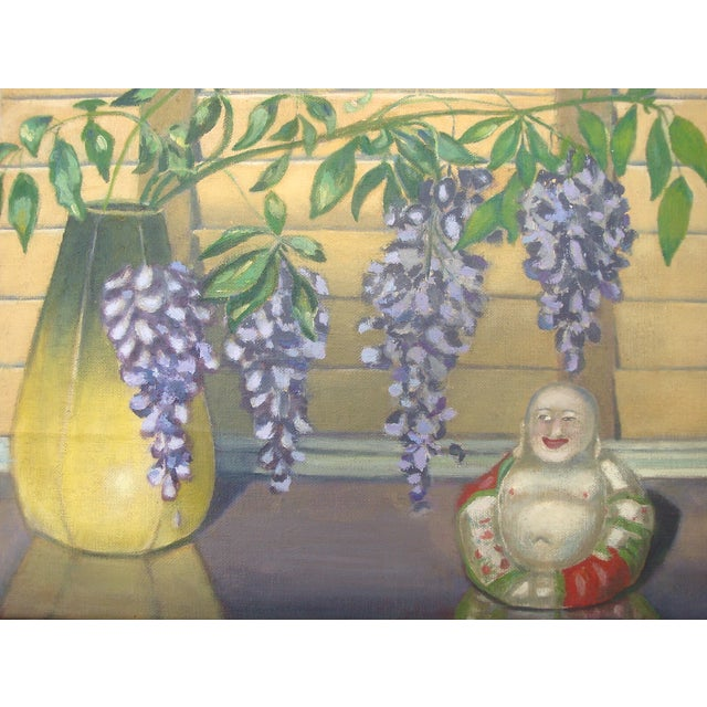 Eclectic Asian themed tablescape vignette oil painting featuring a laughing buddha figurine and a tall yellow panel vase...