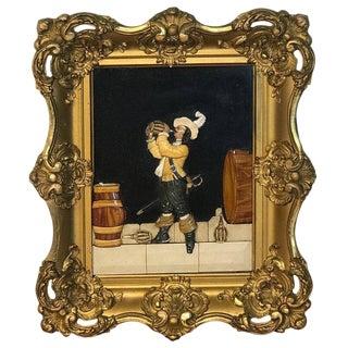 Antique Florentine Raised Pietra Dura Plaque of a Drinking Cavalier After Vinea For Sale
