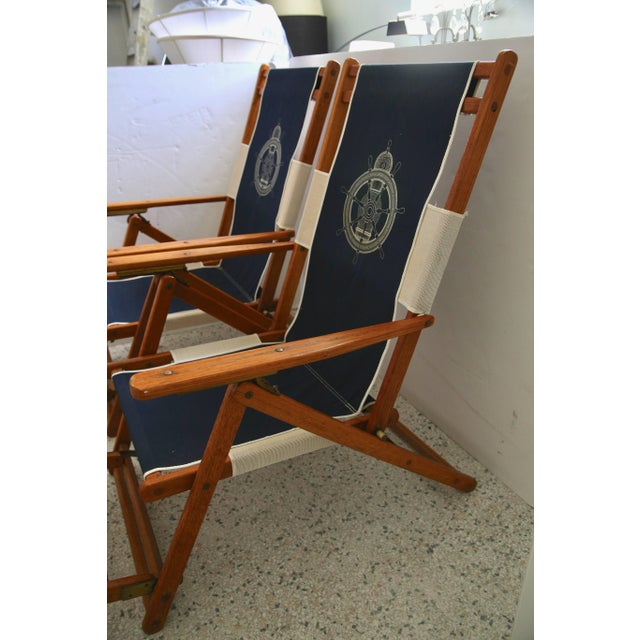Oakwood Deck Chairs With Blue and White Upholstery - a Pair For Sale In West Palm - Image 6 of 10