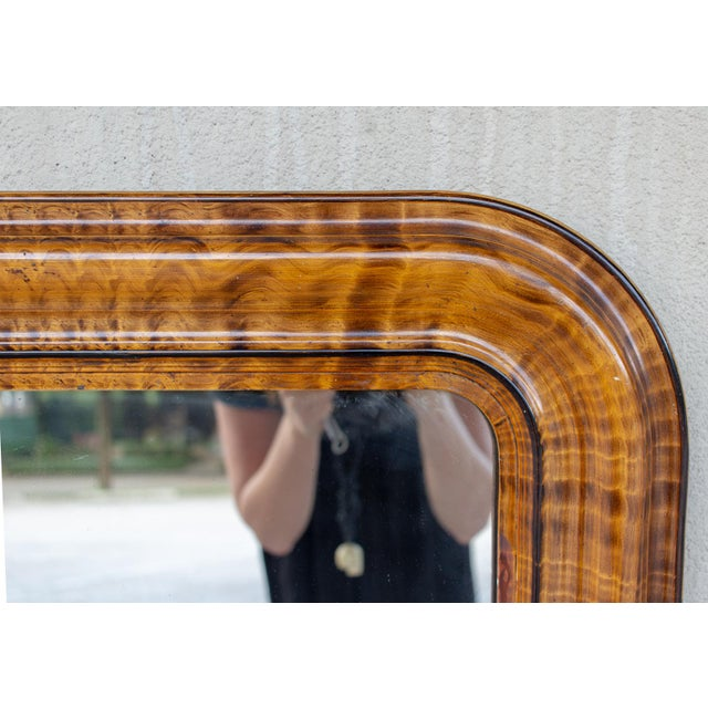 1900s French Louis Philippe Faux Burl Wood Painted Frame Mirror For In Houston Image