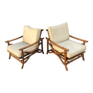 1980s Boho Chic Ficks Reed Lounge Chairs - a Pair For Sale
