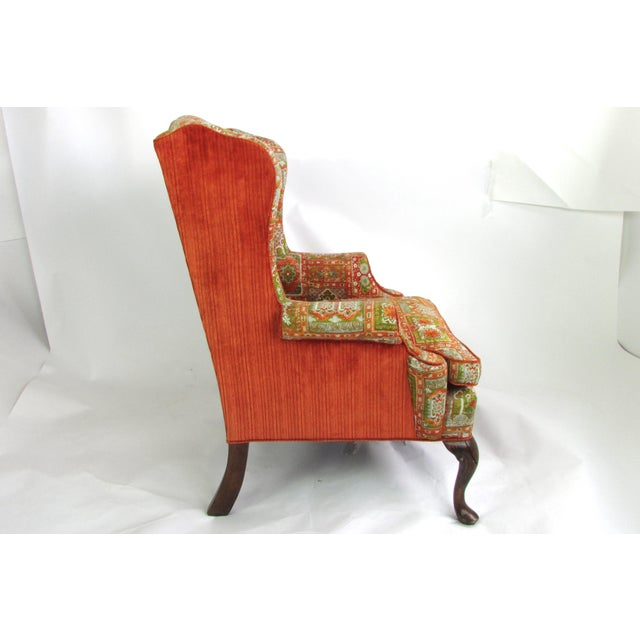 Velvet & Print Wingback Chair - Image 8 of 9
