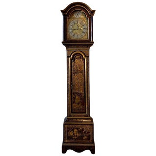 Mid-18th Century English Chinoiserie Decorated Tall Case Clock For Sale