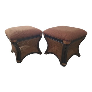 Bernhardt Bamboo and Rattan Ottomans - a Pair For Sale