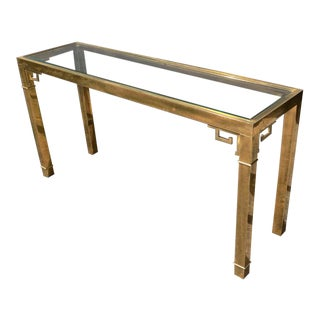 1970s Vintage Mastercraft Brass & Glass Console Table For Sale