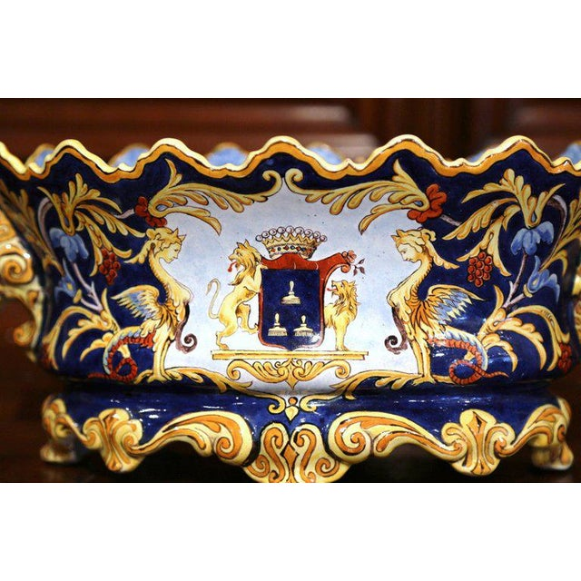 Italian Mid-19th Century Italian Painted Ceramic Oval Planter With Crest and Cherubs For Sale - Image 3 of 12