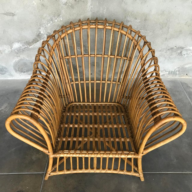 1980s Vintage Rattan Lounge Chair & Ottoman For Sale - Image 9 of 13