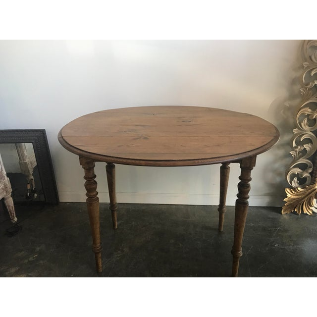 Modern Double Drop Leaf Antique Pine Table For Sale - Image 3 of 9