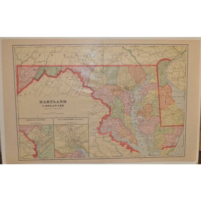 "Vintage Maryland & Delaware Map c.1950 Great color. Great States! This will look great framed! 20"" x 14"". Great condition...."
