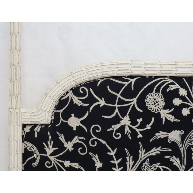 Wood Upholstered Decorative Black and White Fabric King Size Poster Headboard For Sale - Image 7 of 12
