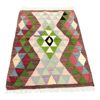 1960s Vintage Turkish Geometric Design Small Wool Kilim Rug - 2′10″ × 4′ For Sale