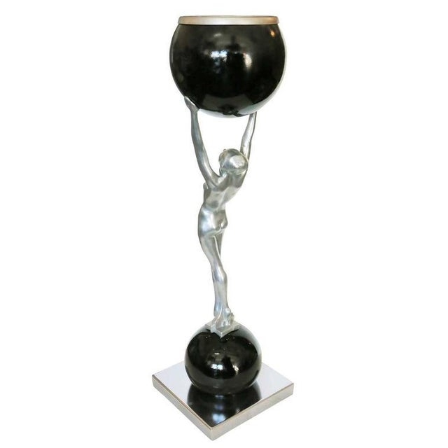 Frankart Style Silvertone and Onyx Nude Figural Cocktail Smoker Ashtray For Sale - Image 4 of 10