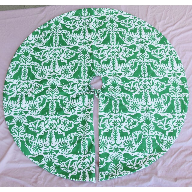 "Large Custom 53"" Diameter Otomi Dog Christmas Holiday Tree Skirt For Sale In Los Angeles - Image 6 of 6"