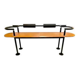 Iron and Saddle Leather Bench by Cy Mann For Sale