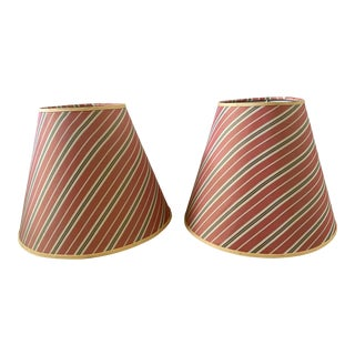 Contemporary Burnt Orange Stripe Desk Lamp Shades With Gold Trim - a Pair For Sale