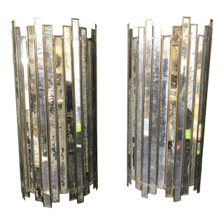 1970's Art Deco Style Mirror and Brass Sconces - a Pair For Sale