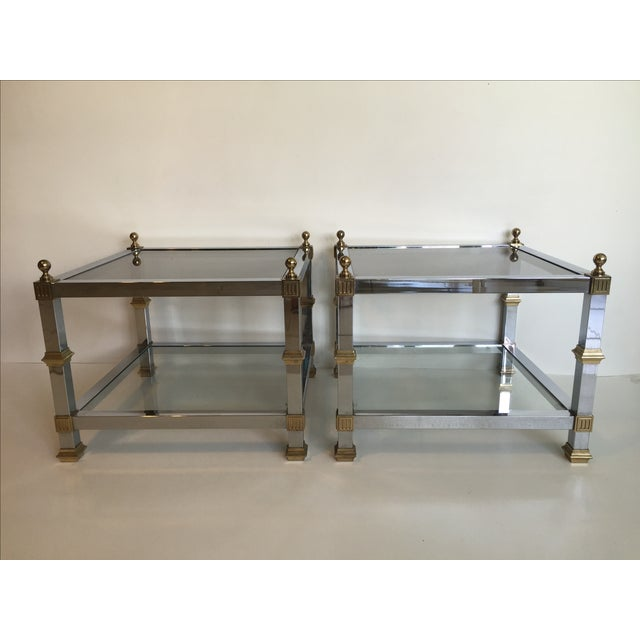 1970s Vintage Chrome & Brass Tables - Pair - Image 2 of 5