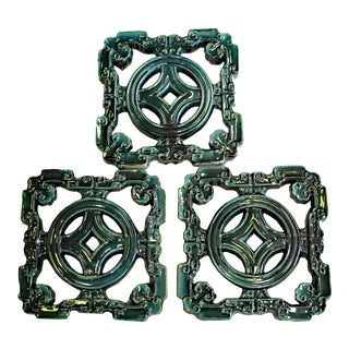 Lot of 3 Chinese Ru-Yi Coin Dark Green Blue MIX Glaze Clay Tiles For Sale